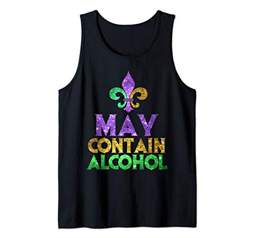 May Contain Alcohol Art | Cute Mardi Gras Party Funny Gift Tank Top