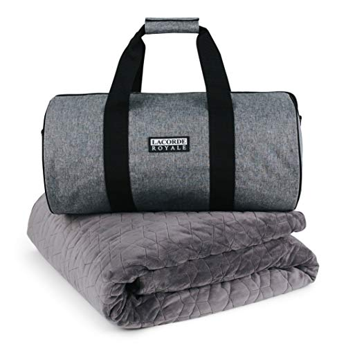 LACORDE Weighted Therapy Blanket 15lbs with Duvet Cover, Queen 48