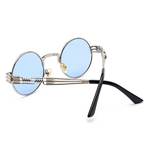 metal Gafas de gafas Plata hippy marco Azul retro redondo de sol conducción de Steampunk rxwr8gaq