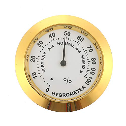 Voraca Hygrometer Brass Analog Humidity Gauge w/Glass Lens for Humidors