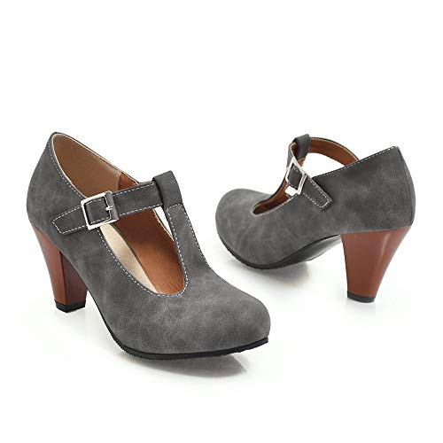 Boucle Talon Sandales Femmes Robe T Courroie Gris Chaussures Prom Mary Party Jane Chaton Pompes Elegant a8Eq8x4wF