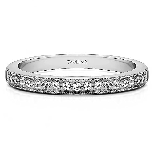 TwoBirch 0.13Ct Seventeen Stone Millgrained Pave Set Wedding ring in Sterling Silver Diamonds (G-H,I2-I3)(Size 3 to 15 in 1/4 Size Intervals)