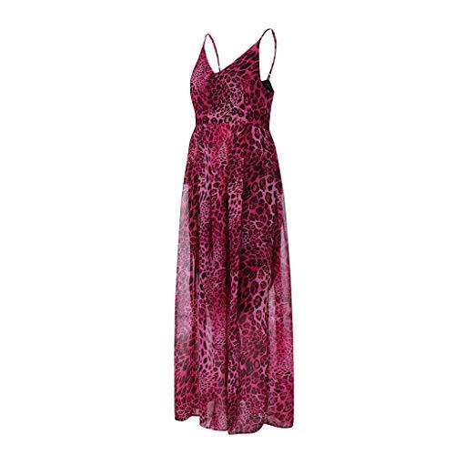 voor Meisje zomer Luipaardprint Heet Lange Elegante Dames hals taille Hoge Strand Roze jurken lange Vrouw Feestjurk V Sexy Boho zYZWzS0