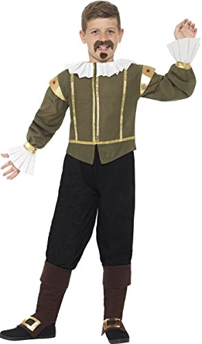 Boys 5 Piece Tudor William Shakespeare Historical World Book Day Week Fancy Dress Costume Outfit 4-12 Years (10-12 Years) ()