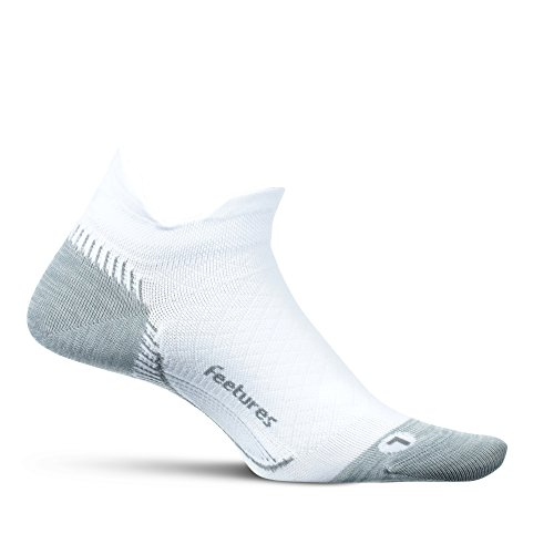 Feetures Plantar Fasciitis Relief Sock with Arch Support Compression for Foot Pain, for Men and Women, Easy to Use Convenient Relief - Ultra Light - No Show Tab - White - Size Large by Feetures!