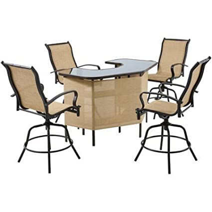 Suncrown Outdoor 3 Piece Brown Wicker Bar Set