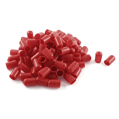uxcell Soft Plastic PVC Insulated End Sleeves Caps Cover 12mm Dia 100Pcs Red Moulded Cylinder