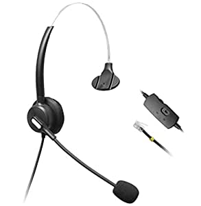 wantech monoaural Centro de llamadas teléfono Auriculares con micrófono y Control de Volumen Para Avaya 16081616962096309640y altigen 805cortelco fanvil C58C58p C62C66IP Teléfonos (h110b01d)