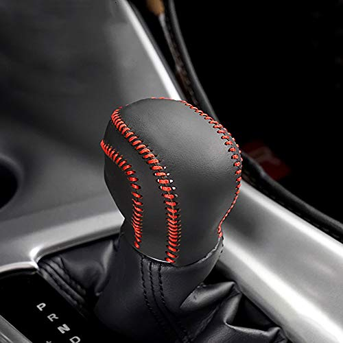 Car Genuiner Leather Gear Shift Cover Black with Red Stitches Gear Shift Knob Cover for Toyota C-HR 2018 (Gear Shift Knob Red)