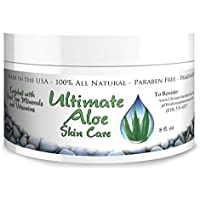 For Women, Men & Children - Ultimate Aloe Skin Care Cream – 8 oz of Organic Aloe Vera Based Face and Body Cream with Coconut Oil, Vitamins C, A, B, E, - Help for - Rashes, Sunburn, and Acne!