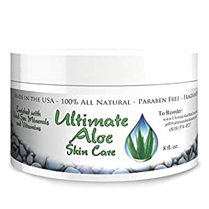 For Women, Men & Children - Organic Aloe Skin Care Cream – 8 oz of Organic Aloe Vera Based Face and Body Cream with Coconut Oil, Vitamins C, A, B, E, Help for - Rashes, Sunburn, and Acne!