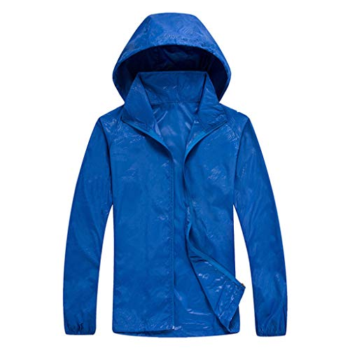 Tantisy ♣↭♣ Women Men's Waterproof Outdoor Active Hooded Rain Trench Jacket Sun Protection Clothing Overalls (with Pockets) - Aerie Birds Boy Brief