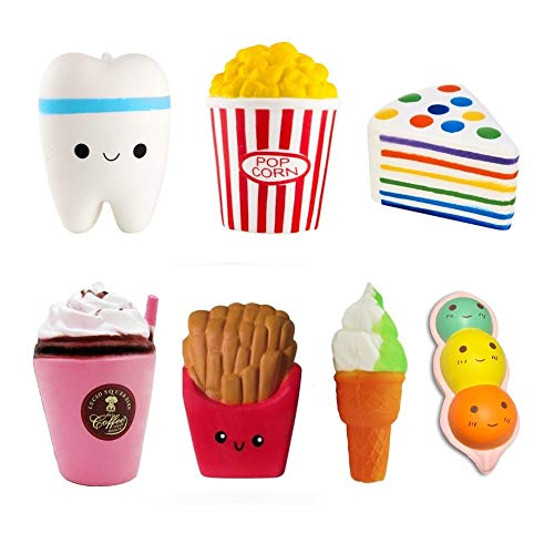 Slow Rising Jumbo Squishies 7 Pack Kawaii Food Scented Kids Toys Doll Fun Collection Stress Relief Toy Hop Props, Decorative Props (Food Set)]()