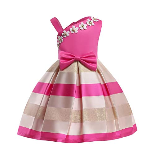 AIMJCHLD Ball Gown Flower Girl Dress Kid Christmas Halloween Easter National Flag Day Party Dresses Size 4-5T (Rose Red, 120) ()