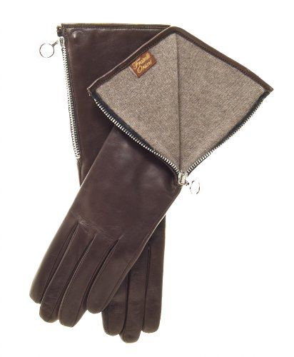 Fratelli Orsini Women's ''4 Button Length'' Italian Cashmere Lined Gloves Size 8 1/2 Color Brown by Fratelli Orsini