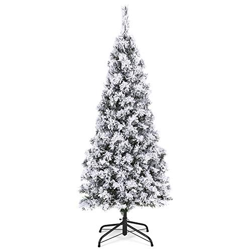 Best Choice Products 4.5ft Snow Flocked Artificial Pencil Christmas Tree Holiday Decoration w/Metal Stand (Flocked Christmas Trees)