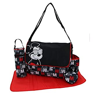 """Disney Mickey Mouse Multi Pc Diaper Bag Set with Mickey Mouse""""Hip Mickey"""" Print (Includes Changing Pad, Pacifier Holder, Insulated Bottle Holder, & Many Pockets)"""