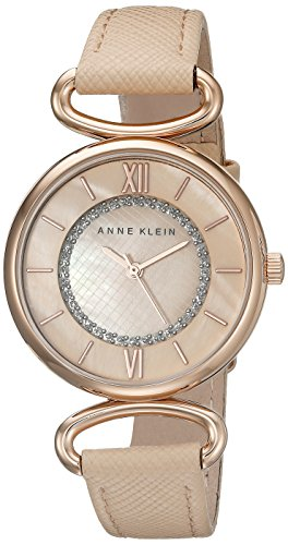 Anne Klein Women's AK/2192RGLP Glitter-Accented Rose Gold-Tone and Blush Pink Strap