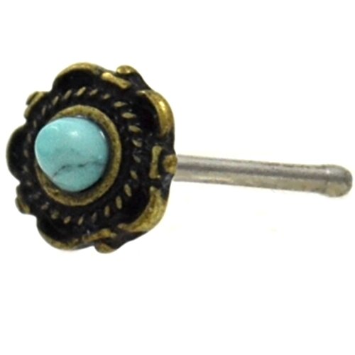 le Flower Nose Ring Bone Stud with Synthetic Turquoise Center (Gold-Tone Brass/Steel) (Turquoise Nose)