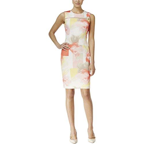 Abstract Print Dress (Calvin Klein Women's Printed Dress W/ Zip AT Yoke, Latte/Koi Cksp, 6)