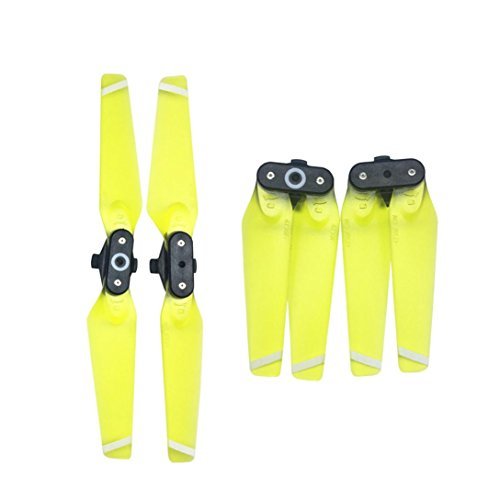 Price comparison product image Witspace 1 Pair 4730F Propellers Quick-Release Foldable Transparent Blades For DJI Spark (Yellow)