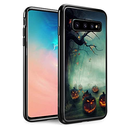 FTFCASE Replacement for Samsung Galaxy S10 Case, Black TPU Rubber Gel Design for Galaxy S10 6.1 inch 2019- Halloween Pumpkins]()