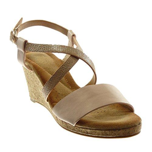 Angkorly Damen Schuhe Sandalen Mule - Knöchelriemen - Multi-Zaum - Schlangenhaut - Kork Keilabsatz 7.5 cm Rosa