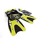 Aquadis Snorkeling Set with High-Quality Diving Mask, Dry Top Snorkel, and Open Foot Pocket Luxury Fins for Men and Women - Best Snorkel Kit for Spearfishing and Scuba - Comes with a Travel Dive Gear Bag - Lifetime Free Replacement Guarantee