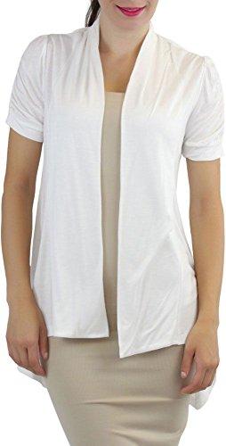 Cap Sleeve Cardigan Sweater - ToBeInStyle Women's Ruched Cap Sleeve Cardigan Sweater - Ivory - S