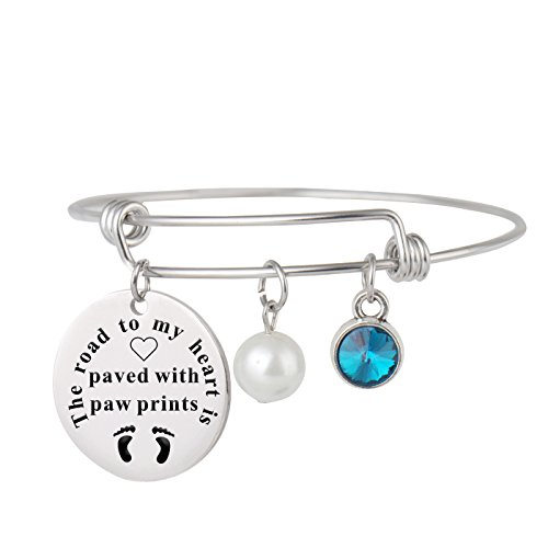 Aoloshow Adjustable Wire Bangle Bracelet Charm Gifts for Women Girls -The road to my heart is paved with paw (Paw Print Heart Charm)