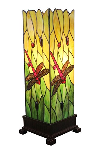 Amora Lighting Tiffany Style AM024TL05 18-inch Dragonfly Table Lamp