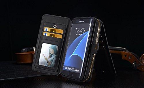OuDu Funda de Billetera en PU Cuero para Samsung Galaxy S7 Edge Carcasa Desmontable Flip Leather Wallet Handbag Case Cover Bumper Cartera Suave Ligero Flexible Bolso Anti Rasguños Anti Choque Caja en  Negro