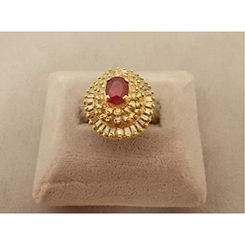 14k Ballerina - 14K Gold Ballerina 1.04ct Compatible for Genuine Natural Ruby Ring with Diamonds (#576)
