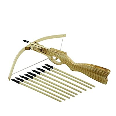 SUNNYHILL Handmade Wood Gun Type Toy Crossbow with 10 Arrows for Outdoor Play: Toys & Games