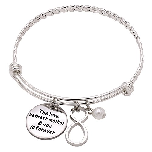 Melix Stainless Steel Mother Son Bangle Bracelet Adjustable , Gift For Mom From Son by Melix