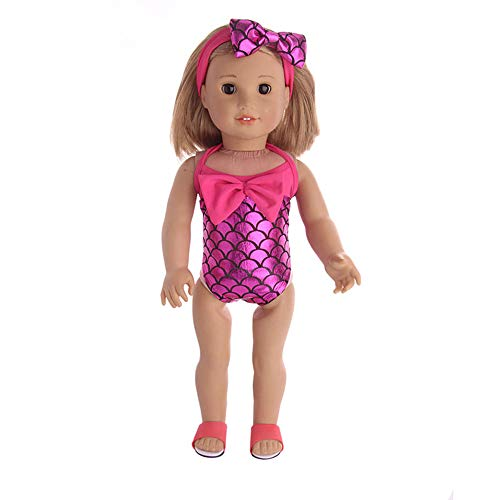 Mermaid One-Piece Suit Skirt Accessories Set Toys Doll Clothes Wardrobe for 18 Inch Wellie Wishers American Girl -