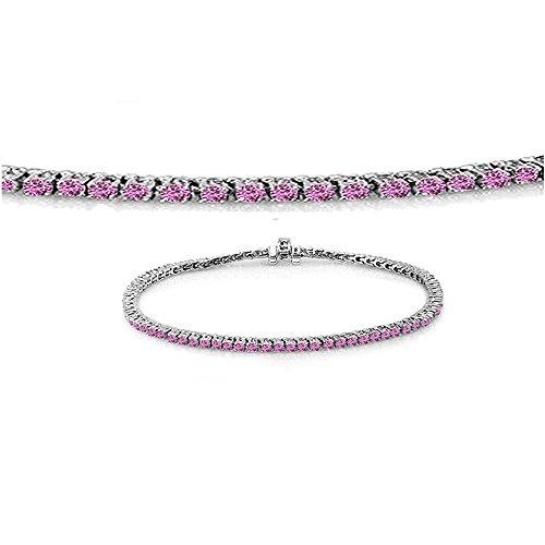 14k Pink Sapphire Bracelet - Dazzlingrock Collection 1.50 Carat (ctw) 14K Round Cut Real Pink Sapphire Ladies Tennis Bracelet 1 1/2 CT, White Gold