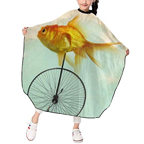JinSPef Unicycle Goldfish Child Haircut Salon Barber Cape Cover for Kids Hair Cutting Home Hairdressing Wrap Apron 39 X 47 in