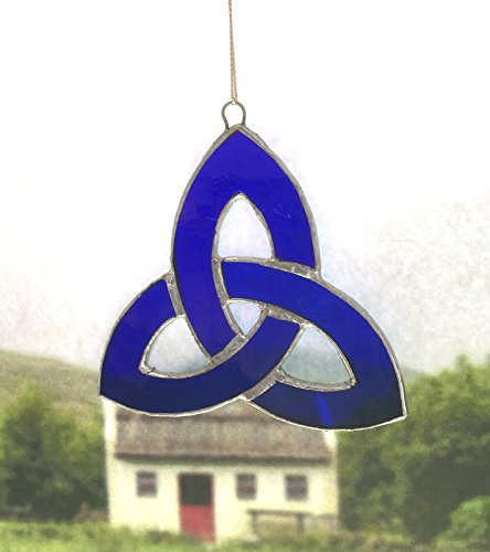 Irish Celtic Stained Glass Window Suncatcher (Trinity Knot, (Stained Glass Shamrock Suncatcher)