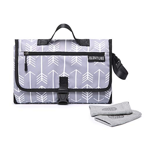 ELENTURE Diaper Changing Pad, Baby Infant Portable Travel Changing Station Mat Bag with Kneecap (White Arrowhead)