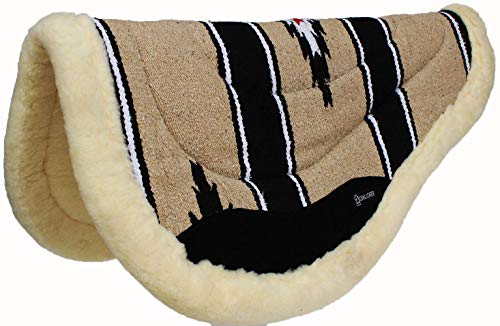 (CHALLENGER 32x30 Western Horse Acrylic Round Barrel Fleece Padded Saddle Pad Tan 3478)