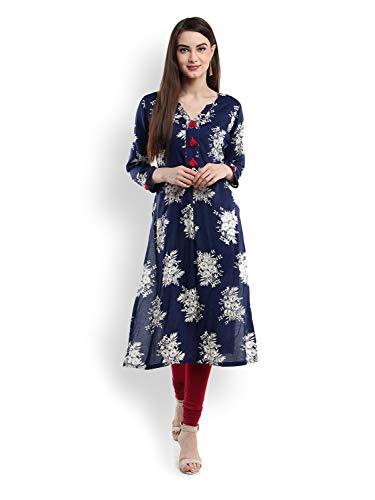 Tissu Women's Viscose Blue Kurta Small Blue ()