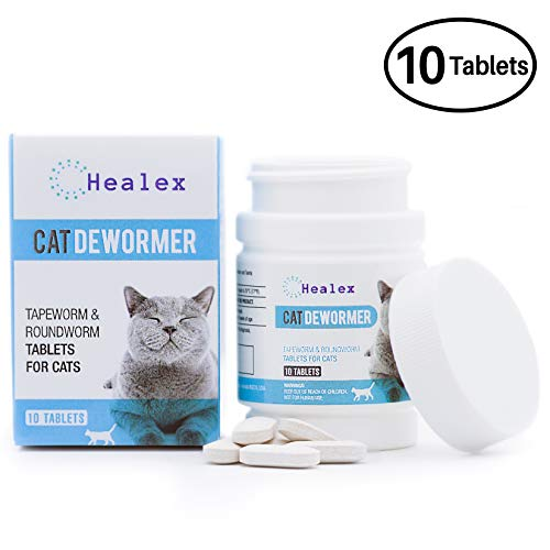 Cat Dewormer Tablets for Cats with Tapeworm and Roundworm | 10 Tablets, Works for Kittens | Helpful E-Book Included ()
