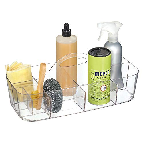 mDesign Plastic Portable Storage Organizer Caddy Tote, Divided Bin, Handle for Bathroom, Kitchen Laundry/Utility Closet - Holds Cleaning Supplies, Window Cleaner, Dust Cloths - Large - Clear