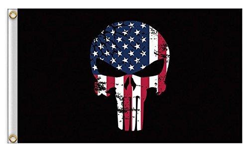 Asien American US Skull Flag - Large American US Skull Flags