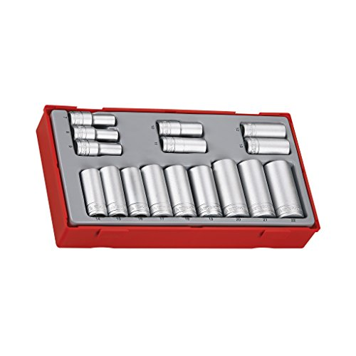 Teng Tools 16 Piece 3/8 Inch Drive Metric 6 Point Deep Socket Set Tool Tray (7mm - 22mm) - TT3816