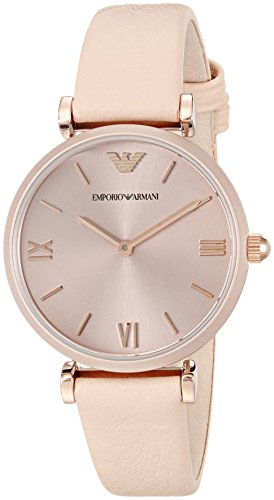 Emporio Armani Women's 'Gianni T-Bar' Quartz Plastic and Leather Casual Watch, Color:Beige (Model: AR11001)