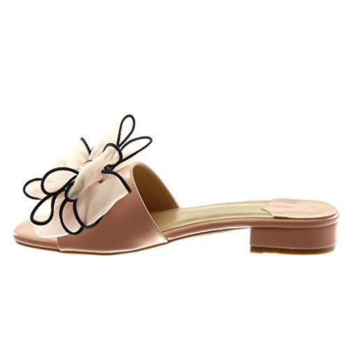 Angkorly Damen Schuhe Sandalen Mule - Slip-on - Knoten - Tüll Blockabsatz High Heel 4 cm Rosa