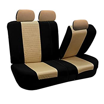 Fh Group Universal Fit Full Set Trendy Elegance Car Seat Cover, (Beigeblack) (Fh-fb060115, Airbag Compatible & Split Bench, Fit Most Car, Truck, Suv, Or Van) 4