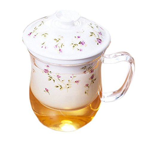 ufengke white 3-piece creative thick heat-resistant glass scented tea cup with flowers-printed ceramic filter, lid-sweetheart rose pattern